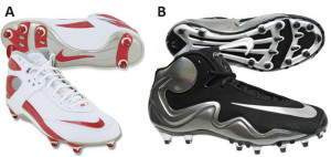 Figure 3. Rotational stiffness of shoes was found to be significantly different between the Nike Air Zoom (A) and the Nike Flyposite (B).