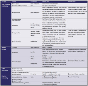 Table 1. Most common sources of chronic lower extremity injuries with treatment and prevention strategies