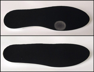 Figure 1. The authors fabricated the prophylactic orthoses from stiff-milled plastic with an indention, or pressure well, beneath the first metatarsal head, for use in foot- ball players' shoes.