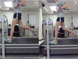Figure 2: Male runner with history of tibial stress frac- tures while running at pre- ferred step rate (left) and while running 7.5% above preferred step rate (right). Note increased knee flexion at foot strike.