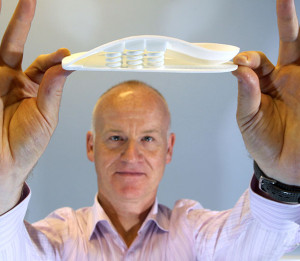 "An image of the future shown at the 2013 OTF: A 3D-printed model of the human foot, part of the A–FOOTPRINT project (see ""3D printing,"" page 40). (Photo courtesy of Peter Devlin.)"