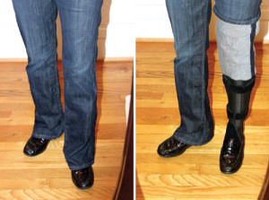 Figure 1. Pants are a popular, versatile fashion choice for both male and female AFO wearers.