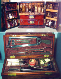 A Civil War surgeon's portable apothecary (top) and amputation kit (bottom). (Images courtesy of the National Museum of Civil War Medicine, Frederick, MD.)