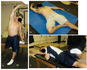 Figure 1: Examples of whole body stretches incorporating myofascial principles aimed at increasing hip external rotation: a) and b) are self-stretches and c) is manual stretching by the researcher. Note that in each case the right arm is elevated and, when possible, the torso is twisted to the left and the hip extended to maximize tension in the entire right anterior aspect of the body. (Reprinted with permission from reference 7.)