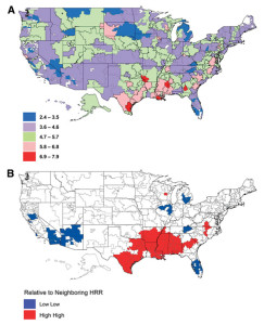 Maps of incidence of lower extremity amputations (LEA) among diabetic Medicare beneficiaries by hospital referral region (HRR) in 2008. A: Map of LEA incidence per 1000 persons on Medicare with diabetes by HRR in 2008. B: Local index of spatial autocorrelation map of LEA incidence showing spatially correlated HRRs of highest incidence of LEA and lowest incidence of LEA in 2008. (Reprinted with permission from reference 7.)