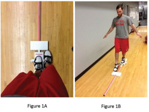 The participant, while wearing shoes, begins in a balanced, single-leg stance with his or her toes just behind the red starting line (Figure 1A). Maintaining a single-leg stance, he or she reaches with the free limb and pushes the reach indicator forward as far as possible (Figure 1B).