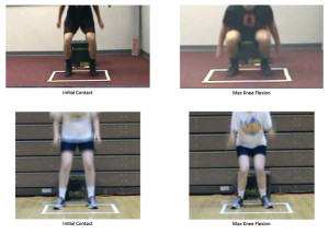 Figure 3. Examples of a low risk, excellent movement pattern iLESS jump (above), and a high risk, poor movement pattern iLESS jump (below).