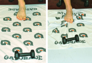 Figure 2. Towel pick-up starting position (left) and ending position (right).