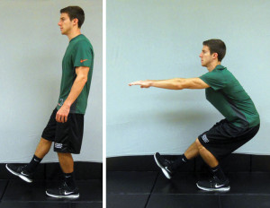 Figure 5. Single-limb squat starting position (left) and ending position (right).