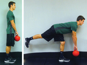 Figure 6. Single-limb dead lift starting position (left) and ending position (right).