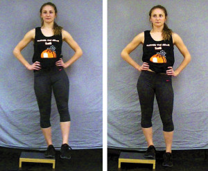 Figure 7. Weight-bearing pelvic drop starting position (left) and ending position (right).