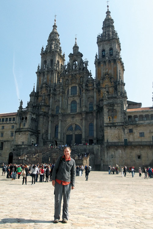 The author after arriving in Santiago at the end of her 650- mile walk.