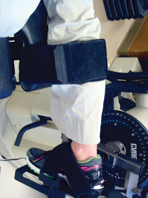 Figure 1. Setup for dorsiflexion and plantar flexion isokinetic testing used after Achilles tendon rupture treatment. Patient is placed prone with straps over the calf and around the foot to secure the foot to the dynamometer.