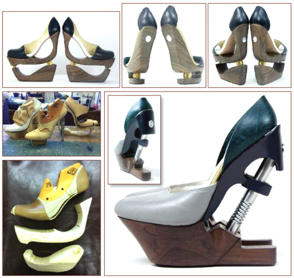 Figure 2. Spanish shoe designer Silvia Fado used traditional and additive manufacturing methods to create her impact-absorbing Kinetic Traces line, a prototype series. (Images courtesy of Silvia Fado.)