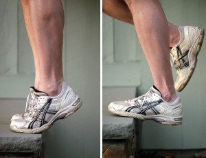 An example of eccentric loading of the calf muscles. From an upright body position with all body weight on the forefeet and the ankle joint in plantar flexion (left), the heel of the injured leg is lowered beneath the level of the forefoot (right).