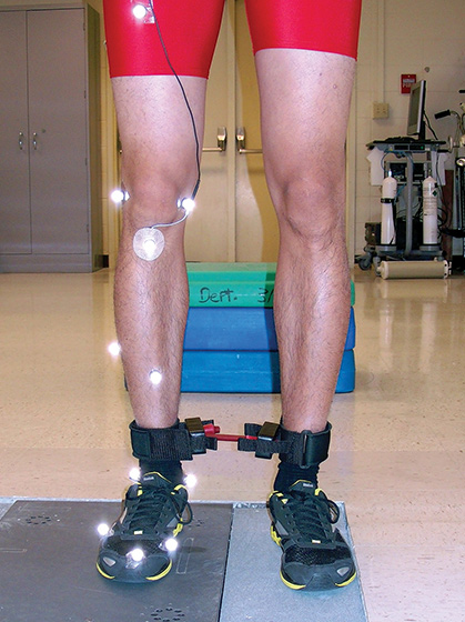Photo illustrates positioning of the resistance band just above the ankles. (Photo courtesy of Boyi Dai, PhD.)