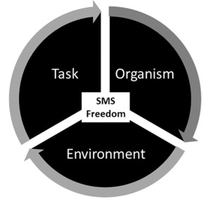 Figure 1. The interacting constraints that influence sensorimotor control. Sensori- motor system (SMS) freedom is contextually dependent on the interaction of the organism, the complexity of the task, and the predictability of the environment.