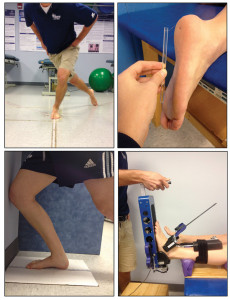 Figure 1. Clinical and laboratory tests used to measure phys- ical impairments that contribute to HRQOL. Top left: Star Excursion Balance Test. Top right: a Semmes-Weinstein Monofilament being used to test plantar cutaneous sensa- tion. Bottom left: Weight-bearing lunge test for dorsiflexion range of motion. Bottom right: ankle arthrometer.