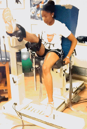 Figure 3: Lengthened state eccen- tric hamstring strengthening on an isokinetic dynamometer. (Reprinted with permission from Schmitt B, Tyler T, McHugh M. Hamstring in- jury rehabilitation and prevention of reinjury using lengthened state ec- centric training: a new concept. Int J Sports Phys Ther 2012;7[3]:333- 341.)13