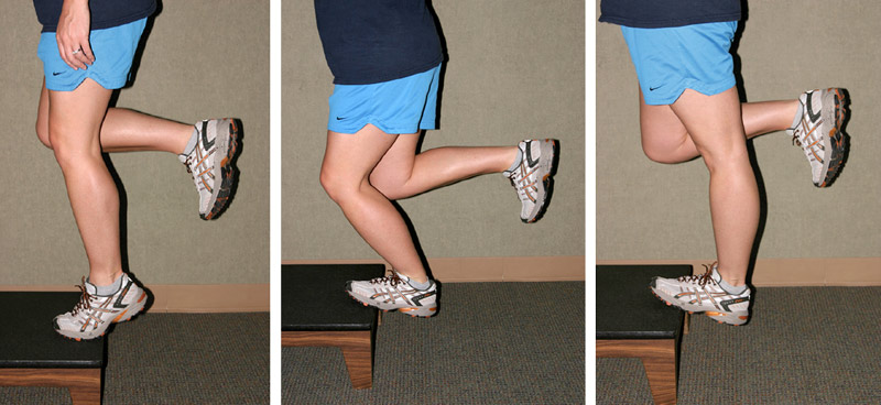 Figure 2. Eccentric training exercises. In the first exercise, the patient stands bearing weight on the involved foot in plantar flexion with the knee slightly bent (left) and slowly lowers the heel into dorsiflexion to a count of five (center). In the second exercise, the patient stands bearing weight on the involved foot in plantar flexion with the knee straight and lowers the heel to a count of five (right). (Reprinted with permission from Kedia et al.24)