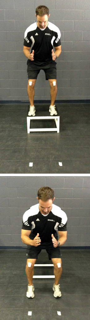 Figure 2. If frontal plane knee alignment during jump landing is the goal of training, pieces of tape can be placed on the floor and the patella (top image), and the patient instructed to keep the two sets of tape in alignment during the landing movement (bottom image).