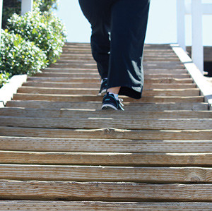 Climbing steps was one of the activities that seemed to spur the recurrence of the author's plantar fasciitis. (Photo by Karen Beaumont.)