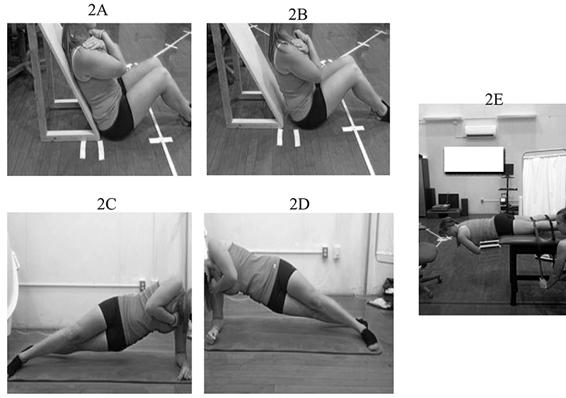 Figure 2. McGill's core endurance tests: anterior trunk flexor test, starting position (2A) and testing position (2B); left (2C) and right (2D) lateral musculature plank test; and posterior trunk extensor test (2E).