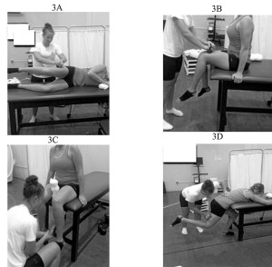 Figure 3. Hip muscle strength tests: abductors (3A), flexors (3B), external rotators (3C) and extensors (3D).