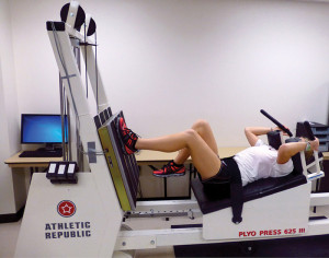 Figure 3. Single-leg strength testing of unilateral closed-chain peak isometric knee extension force production, using a horizontal Plyo-Press.