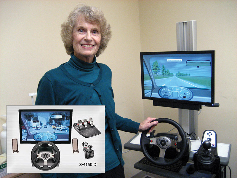 Figure  1. A patient poses with the driving simulator used in a Hospital for Special Surgery study of brake re- sponse times after total hip replace- ment.16 Inset shows a schematic of the simulator. (Photo by Robin Frank, courtesy of the Hospital for Special Surgery.)