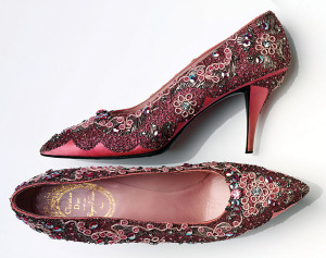 Evening shoe, beaded silk and leather, France, 1958-1960. Made by Roger Vivier for Christian Dior. © Victoria and Albert Museum, London