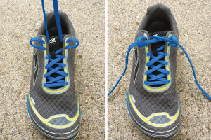 A heel lock modification, sometimes called a runner's loop or lock, utilizes the top two shoelace holes for a better fit. (Photo courtesy of Rob Conenello, DPM.)