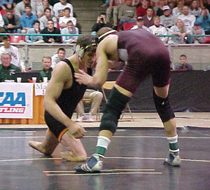 Nick Ackerman, CP, won the NCAA Division III wrestling championship in 2001. (Photo courtesy of Simpson College.)
