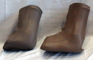 The two orthotic devices used for testing: the standard-length AFO (left) and the AFO with lateral extension (right). (Reprinted with permission from Neville C, Bucklin M, Ordway N, Lemley F. An ankle foot orthosis with a lateral extension reduces forefoot abduction in subjects with stage II posterior tibial tendon dysfunction. J Orthop Sports Phys Ther 2016;46(1):26-33.)