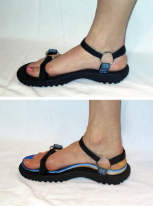 Figure 5. The modified Teva sandal (top) and the modified Teva sandal with orthosis (bottom).