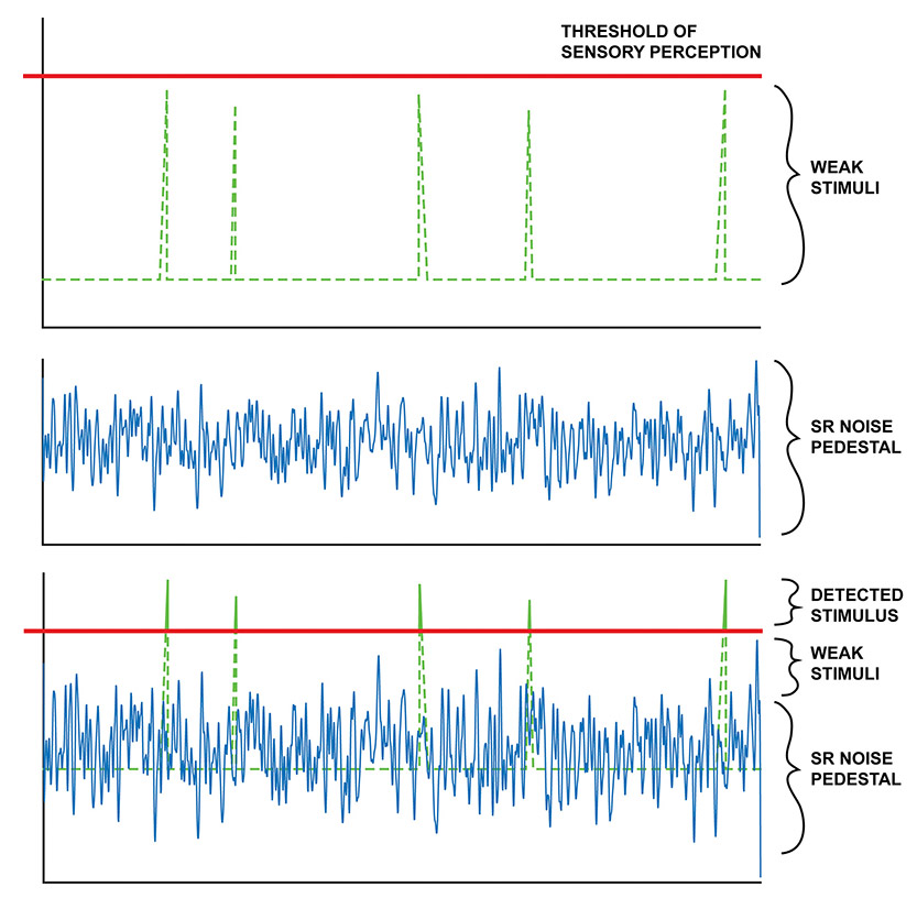 Figure 1. The theory behind how stochastic resonance (SR) may improve tactile sen- sation is illustrated here. A weak stimulus below an individual's threshold of percep- tion is enhanced by the inclusion of subsensory stochastic resonance noise. The subsensory SR noise acts as a pedestal from which the transmission capabilities of stimuli are enhanced, allowing the human sensory system to detect subthreshold stimuli.
