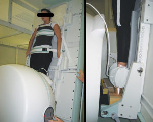 Figure 4: A dancer standing in an open MR scanner. The right image shows of her lower extremity with the ankle in a knee coil.