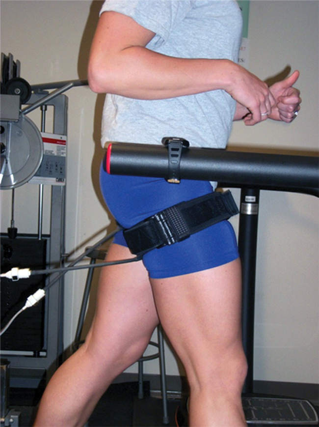 Figure 3. Low-load resistance training with BFR can be conducted more often than traditional higher-load training—as often as twice daily for two weeks with a 20% 1RM. (Photo courtesy of Jeremy Loenneke, PhD.)