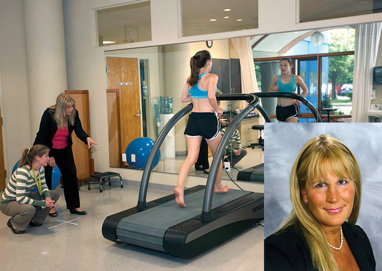 Irene Davis, PhD, PT, FACSM, FAPTA, FASB, above and in the gait lab.