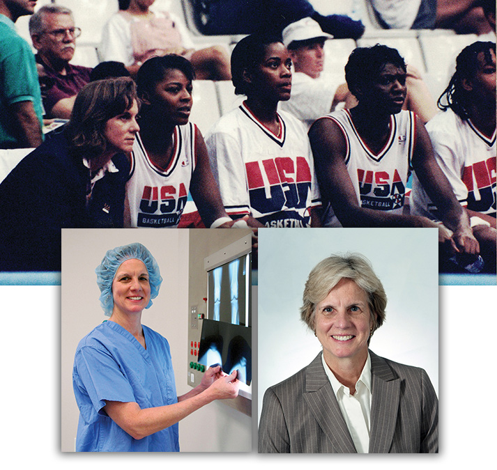 Mary Lloyd Ireland, MD, at the 1992 Olympics (top) and in 2007 (left) and 2014 (right).