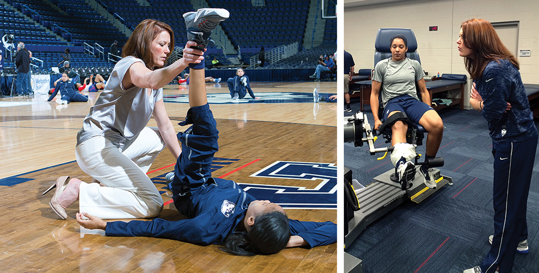 Rosemary Ragle, MS, ATC, in the UConn training room and at one of the Huskies' regular-season games.