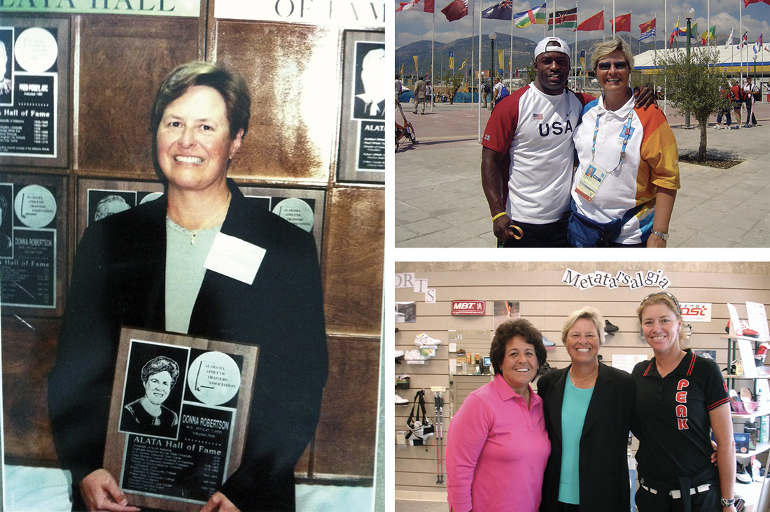 Donna Robertson, MS, ATC, LAT, CPed, (clockwise from left) with her plaque in 2000 as the first woman inducted into the Alabama Athletic Trainer's Associa- tion Hall of Hame; at the 2004 Athens Olympics with track and field silver medalist Coby Miller; and at Foot Solu- tions in The Villages, FL, with pro golfers Nancy Lopez and Helen Alfredsson.